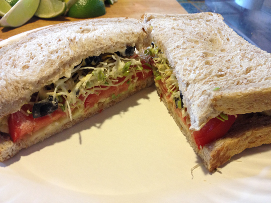 Avocado Sandwich (avocado hiding on there somewhere)