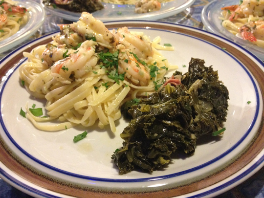 #Skrimp scampi on linguine, #smokygreens