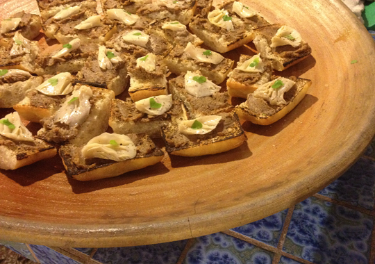 Crostini with black walnut/ oyster mushroom paté and pickled oyster mushroom