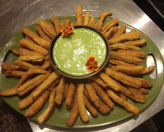 Puffball fries with watercress aioli