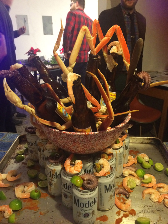 """Make it look like the shrimp scene in Beetlejuice"" Michelada Tower ""Cabrón Gigante"""