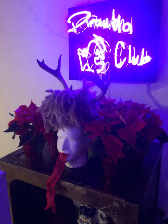 Post-party Krampus shrine (style by J. Labatte)
