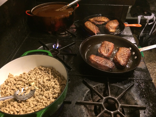 Liver spaetzle brownin, goose breast searin