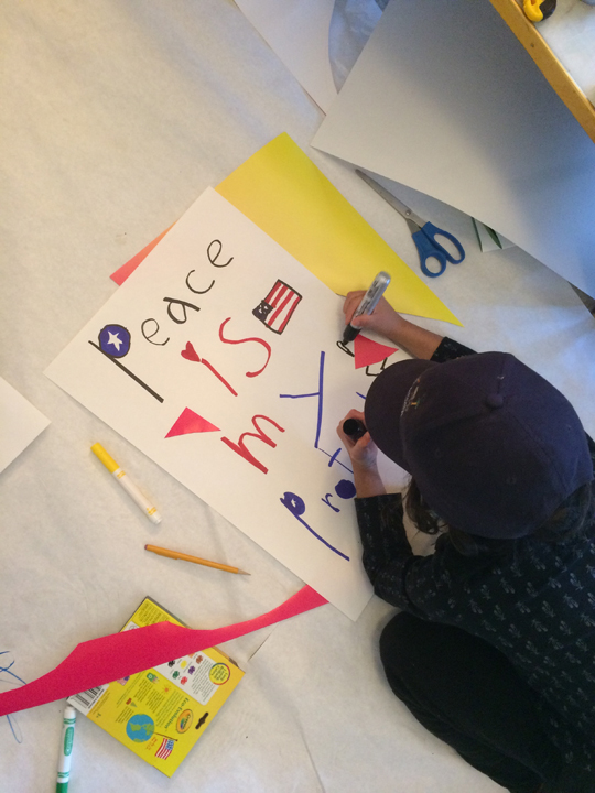 "8 year old Elle WInship gets in on the action ""Peace is my Protest"""